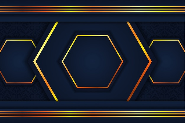 Abstract hexagon background. combination blue and gold colors. gold line pattern on up and bottom.