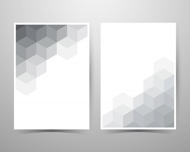 Abstract hexagon background, gray pattern, layout   template a4 size.