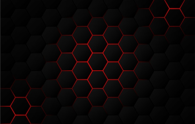Abstract. hexagon black background, red light and shadow.