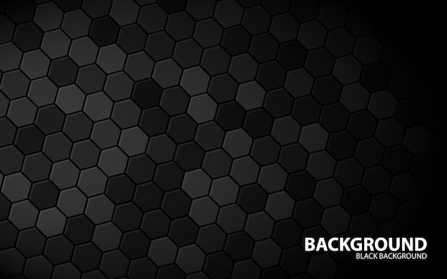 Abstract hexagon black background
