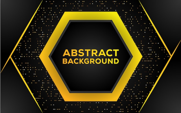 Abstract hexagon black and gold background