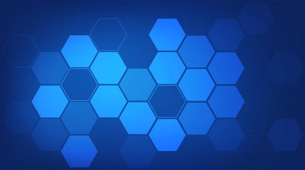 抽象的な六角形の青い背景。