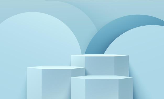 제품 프리젠 테이션을위한 추상 육각형 파란색 디스플레이