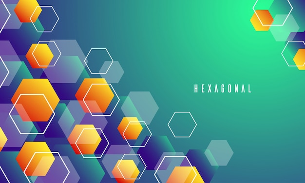 Abstract hexagon blue, orange and green background