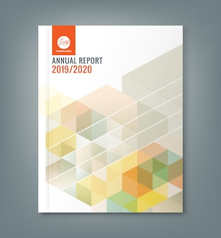 Abstract hexagon cube annual report template