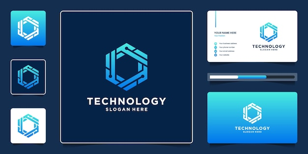 Abstract hexagon geometric technology logo design with dot and circuit symbol