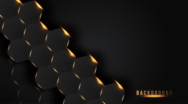 抽象的な六角形の黄金の輝きの背景