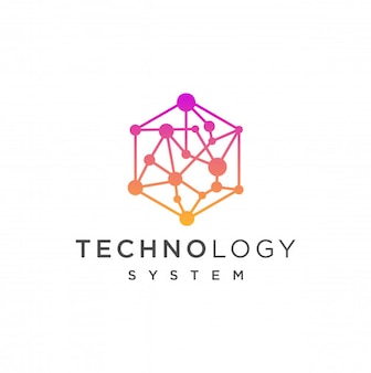 Abstract hexagon logo design with dot connection
