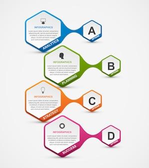 Абстрактный шаблон инфографики вариантов шестиугольника.