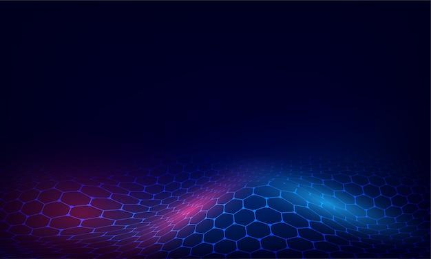 青と赤の色で抽象的な六角形のパターンの光沢のある背景