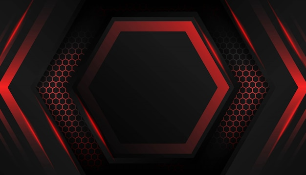 Abstract hexagon red light on dark background.