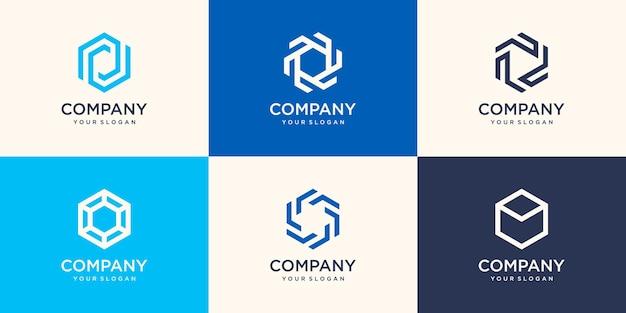 추상 육각 모양의 기호 회사 로고 디자인 요소입니다.
