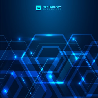 Abstract hexagon technology digital blue background