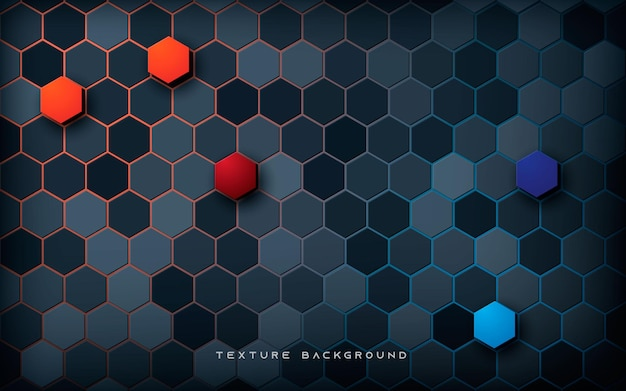 Abstract hexagon texture background blue and orange color Premium Vector