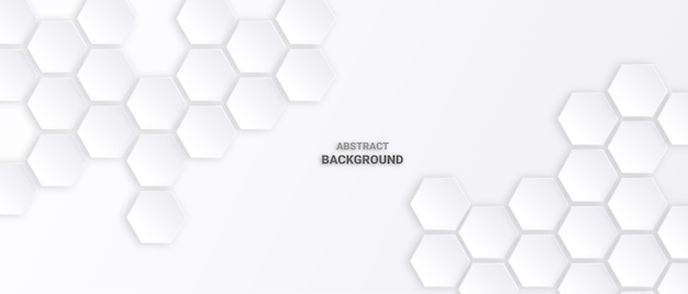 Abstract hexagon white background.