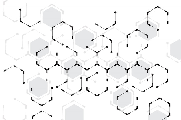 Abstract hexagon with white background