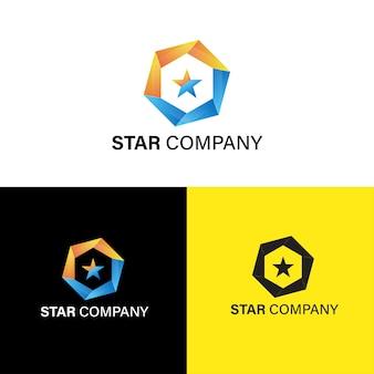 추상 육각 및 스타 기업 로고 템플릿