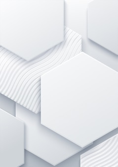 Abstract hexagonal background. futuristic technology concept. 3d   illustration. hex geometry pattern. white paper cells.
