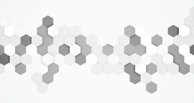 Abstract hexagonal black and white 3d background