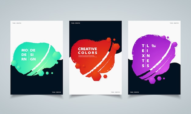 Abstract hexagonal colorful fluid geometric shape banners brochure.