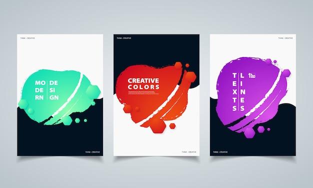 Абстрактные гексагональной красочные жидкости геометрические фигуры баннеры брошюра.
