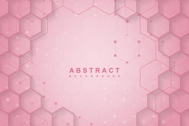 抽象的な六角形のグラデーションピンクの背景