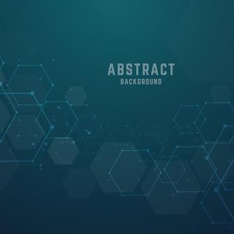 Abstract hexagonal molecular structures background