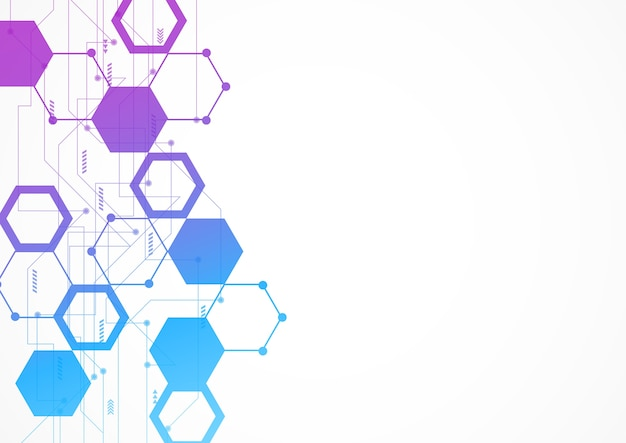 Abstract hexagonal molecular structures in technology