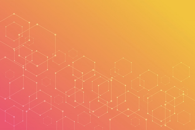 Abstract hexagonal on orange background.