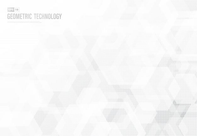 Abstract hexagonal patter design of technology artwork background.