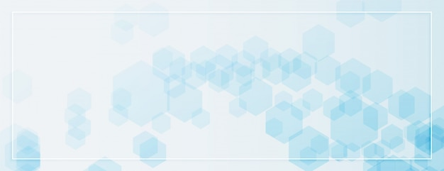 Abstract hexagonal shapes banner in blue color