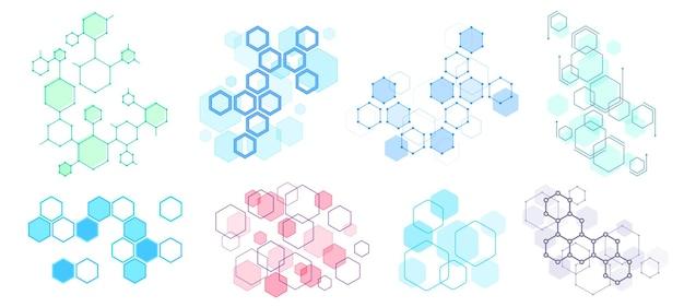 抽象的な六角形の構造。未来的な構成、幾何学的な六角形のネットワーク構造とハニカムイラストセット。