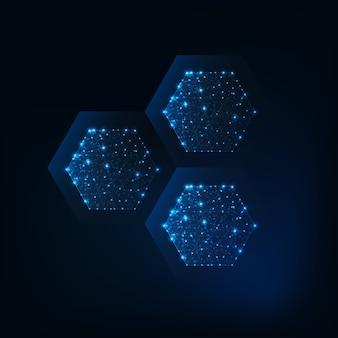 빛나는 선, 별, 점, 낮은 다각형으로 만들어진 추상 육각형 구조 분자.