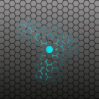 Abstract hexagonal tile dark background.