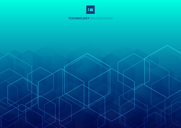Abstract hexagons overlapping blue background