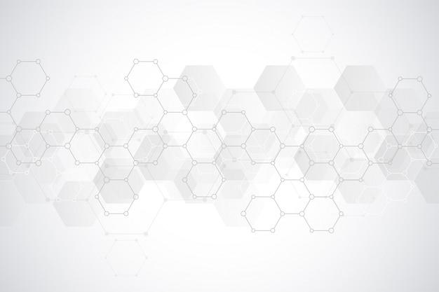 Абстрактная картина шестиугольников для медицинского или научно-технологического современного дизайна. абстрактная предпосылка текстуры с молекулярными структурами и химическим машиностроением.