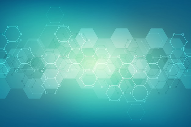Abstract hexagons pattern for medical or scientific and technological modern design. abstract texture background with molecular structures and chemical engineering.
