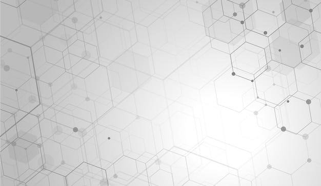 抽象的な六角形技術デジタルハイテクコンセプトの背景。テキスト用のスペース