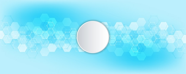 Abstract hexagons with blank circle background