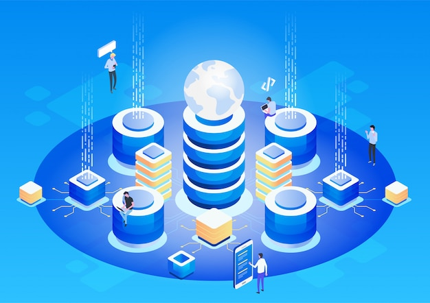 Абстрактное понятие высоких технологий. хранилище данных. веб-облачные технологии бизнеса.
