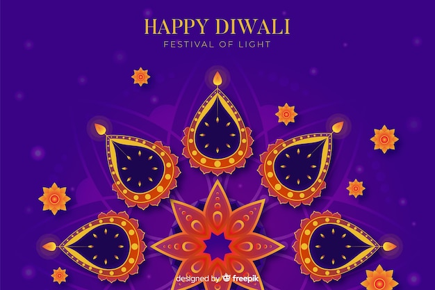 Abstract hindu concept flat diwali background