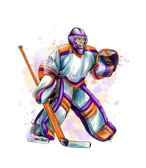 수채화의 스플래시에서 추상 하키 골키퍼. 손으로 그린 된 스케치. 겨울 스포츠. 그림 물감