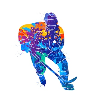 水彩画のスプラッシュから抽象的なホッケー選手。塗料のイラスト。