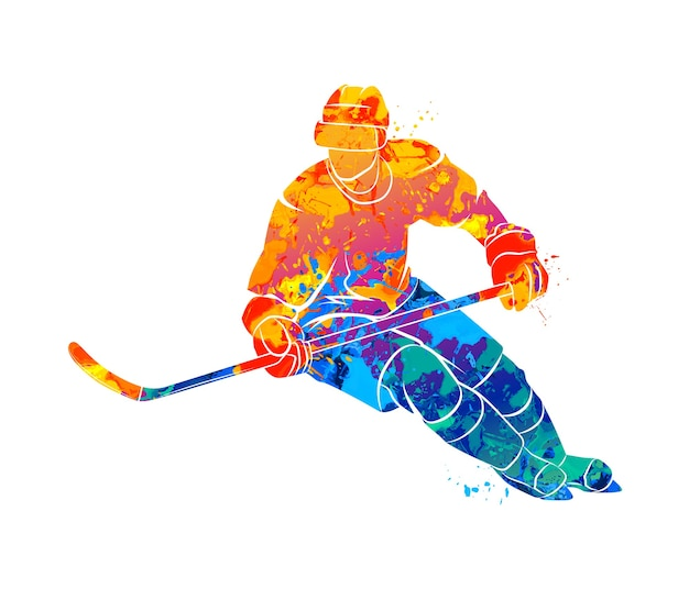 Абстрактный хоккеист из всплеска акварелей. зимний вид спорта
