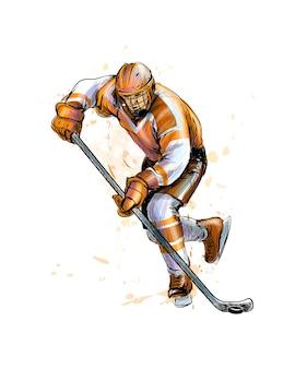 Абстрактный хоккеист от всплеска акварелей. ручной обращается эскиз. зимний вид спорта. иллюстрация красок