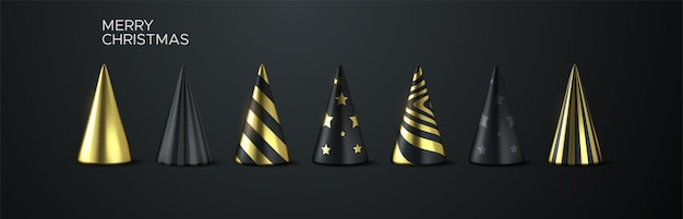 Abstract holiday christmas tree set of black and golden geometric cone shapes
