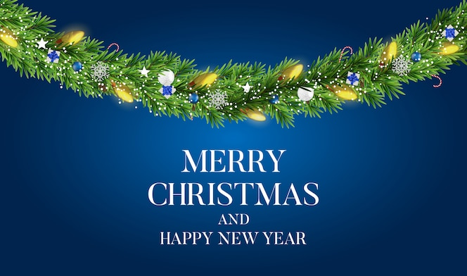 Abstract holiday new year and merry christmas background with realistic christmas wreath