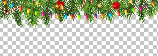 Abstract holiday new year and merry christmas border on transparent background