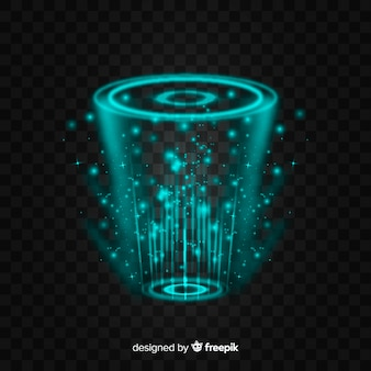 Abstract hologram portal on dark background