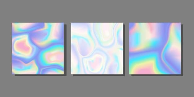 추상 홀로그램 배경 액체 네온 컬렉션 설정